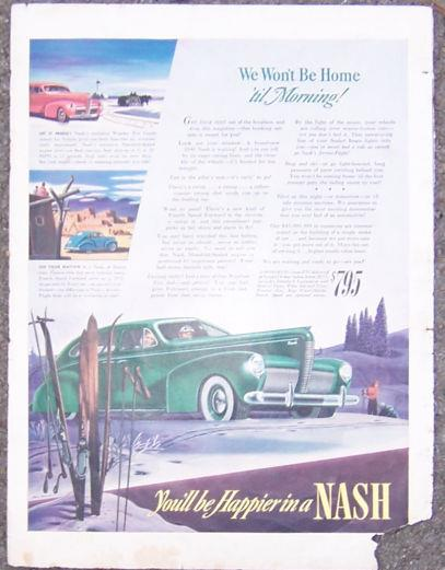 1940 NASH FOUR DOOR SEDAN AUTOMOBILE LIFE MAGAZINE ADVERTISEMENT, Advertisement