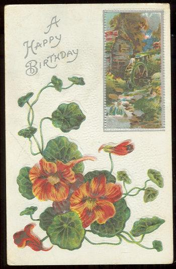 Image for HAPPY BIRTHDAY POSTCARD WITH NASTURTIUMS AND OLD MILL