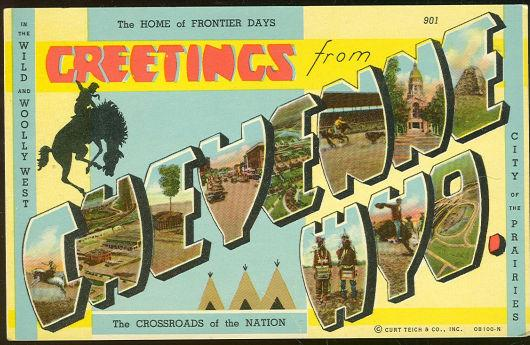 GREETINGS POSTCARD FROM CHEYENNE, WYOMING, Postcard