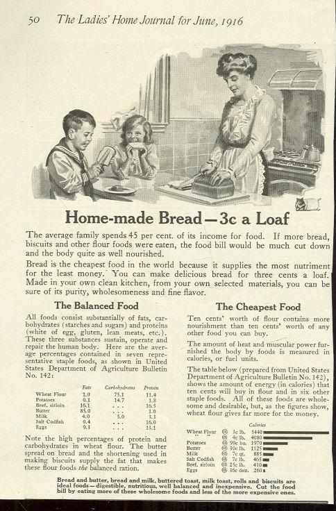 1916 LADIES HOME JOURNAL ADVERTISEMENT FOR HOMEMADE BREAD, Advertisement