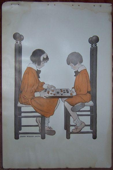 Image for UNFRAMED JESSIE WILLCOX SMITH PRINT OF LITTLE GIRL AND LITTLE BOY PLAYING A GAME OF CHECKERS