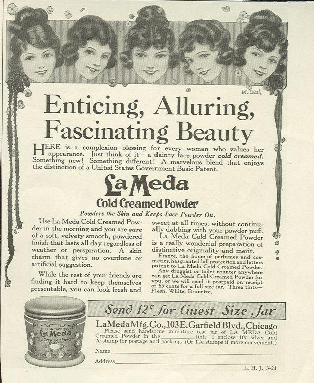 Image for 1921 LADIES HOME JOURNAL LAMEDA COLD CREAMED POWDER MAGAZINE ADVERTISEMENT