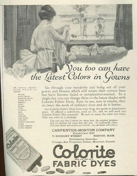 Image for COLORITE FABRIC DYES 1921 LADIES HOME JOURNAL MAGAZINE ADVERTISEMENT