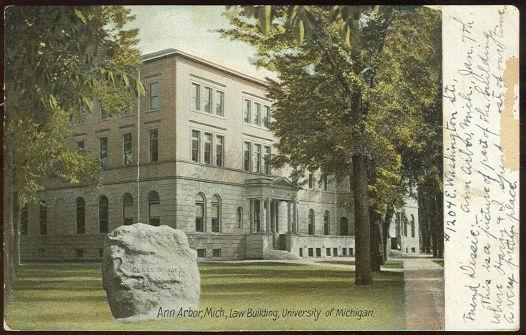 ANN ARBOR, MICHIGAN, LAW BUILDING, UNIVERSITY OF MICHIGAN, Postcard