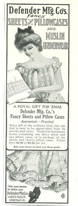 1901 LADIES HOME JOURNAL DEFENDER MFG. CO'S SHEETS AND PILLOWCASES AND MUSLIN UNDERWEAR MAGAZINE ADVERTISEMENT, Advertisement