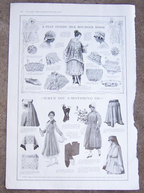 Image for 1916 LADIES HOME JOURNAL CLOTHES FOR THE BOUDOIR AND MOTORING
