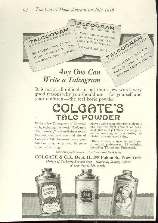 1916 LADIES HOME JOURNAL COLGATE TALC POWDER MAGAZINE ADVERTISEMENT, Advertisement