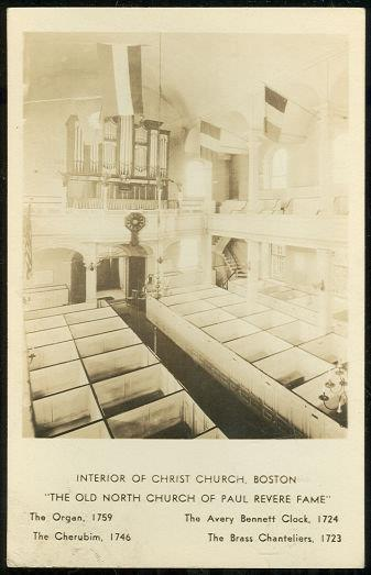 REAL PHOTO POSTCARD OF INTERIOR OF CHRIST CHURCH, BOSTON, MASSACHUSETTS, Postcard