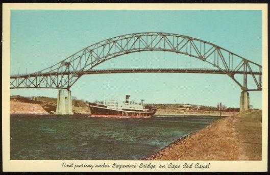 BOAT PASSING UNDER SAGAMORE BRIDGE ON CAPE COD CANAL, Postcard