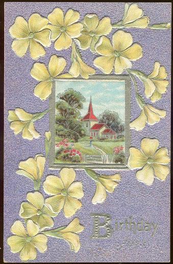 BIRTHDAY JOYS POSTCARD WITH FLOWERS AND CHURCH, Postcard