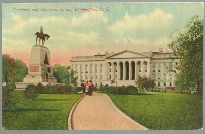 TREASURY AND SHERMAN STATUE WASHINGTON D. C., Postcard