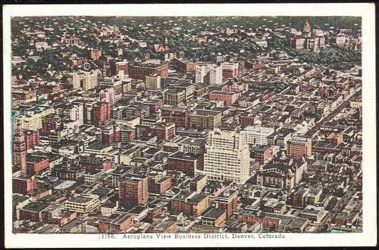 AEROPLANE VIEW BUSINESS DISTRICT OF DENVER, COLORADO, Postcard