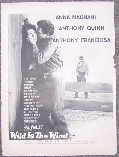 Image for 1957 WILD IS THE WIND MOVIE MAGAZINE ADVERTISEMENT