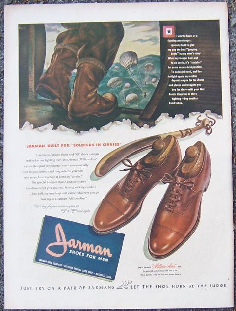Image for 1944 JARMAN SHOES FOR MEN MAGAZINE ADVERTISEMENT