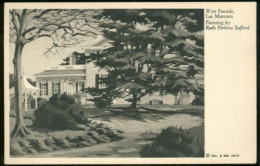 WEST FACADE LEE MANSION FROM A PAINTING BY RUTH PERKINS SAFFORD, Postcard