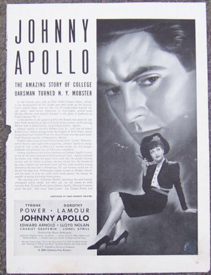 Image for 1940 JOHNNY APOLLO LIFE MAGAZINE ADVERTISEMENT
