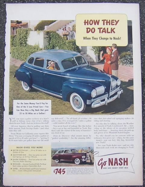 1940S NASH BIG SEDAN AUTOMOBILE LIFE MAGAZINE ADVERTISEMENT, Advertisement