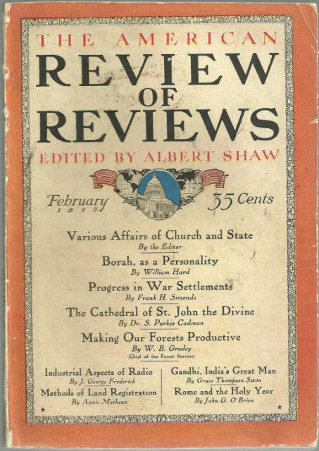 AMERICAN REVIEW OF REVIEWS FEBRUARY 1925, Shaw, Albert editor