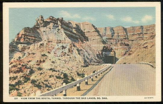 VIEW FROM THE SOUTH TUNNEL THROUGH THE BAD LANDS, SOUTH DAKOTA, Postcard