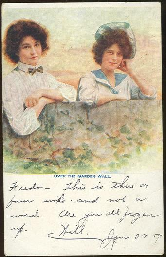 TWO LOVELY LADIES LOOKING OVER GARDEN WALL, Postcard