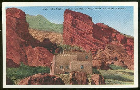 PUEBLO PARK, RED ROCKS, DENVER, COLORADO, Postcard
