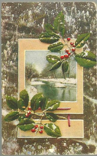 MERRY CHRISTMAS POSTCARD WITH SNOW AND HOLLY, Postcard