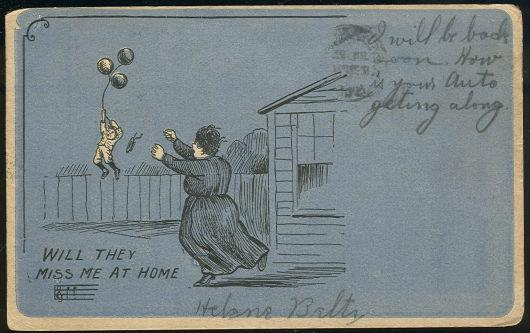 Image for COMIC POSTCARD OF LITTLE BOY WITH BALLOONS