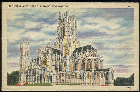 CATHEDRAL OF ST. JOHN THE DIVINE, NEW YORK CITY, NEW YORK, Postcard