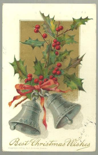 BEST CHRISTMAS WISHES POSTCARD WITH SILVER BELLS AND HOLLY, Postcard