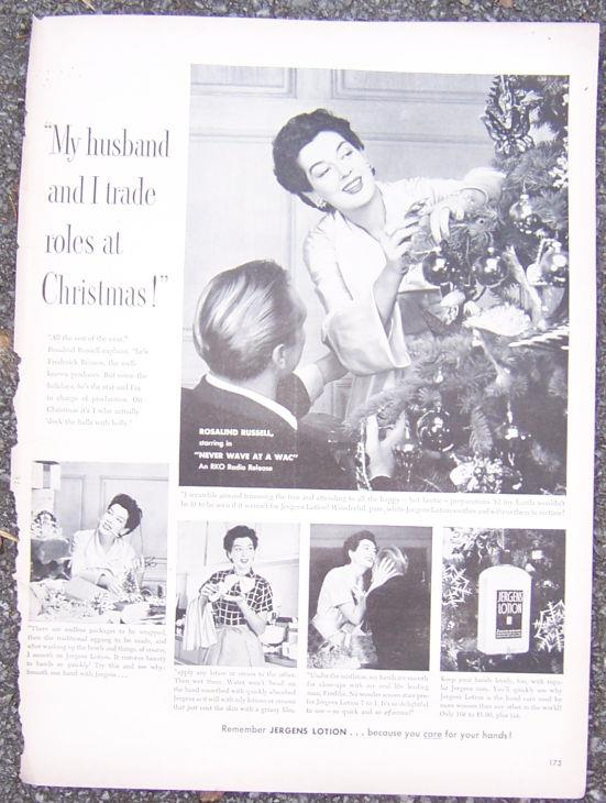 1952 ROSALIND RUSSELL JERGENS LOTION MAGAZINE ADVERTISEMENT, Advertisement
