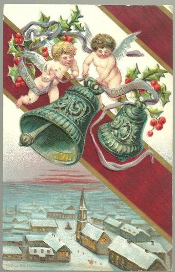 VICTORIAN CHRISTMAS POSTCARD WITH CHERUBS RINGING BELLS, Postcard
