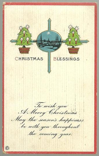 CHRISTMAS BLESSINGS POSTCARD WITH TREES AND LANDSCAPE, Postcard