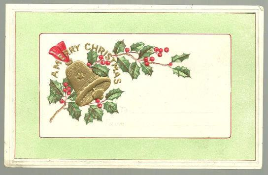 MERRY CHRISTMAS POSTCARD WITH HOLLY AND BELLS, Postcard