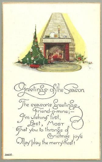 GREETINGS OF THE SEASON POSTCARD WITH FIREPLACE AND CHRISTMAS TREE, Postcard