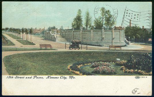 12TH STREET AND PASEO, KANSAS CITY, MISSOURI, Postcard