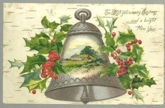 CHRISTMAS WISHES POSTCARD WITH SILVER BELL AND HOLLY, Postcard