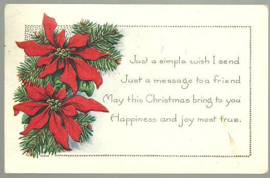 CHRISTMAS WISHES POSTCARD WITH POINSETTIAS, Postcard