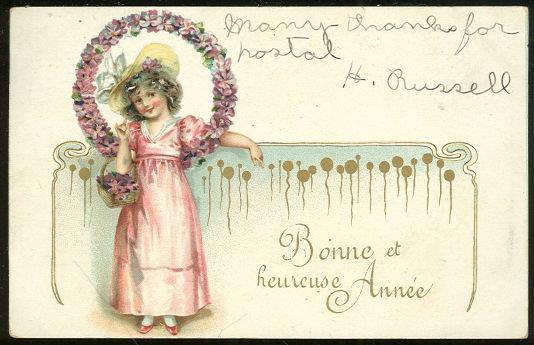 FRENCH POSTCARD FOR A BONNE ET HEUREUSE ANNEE, Postcard