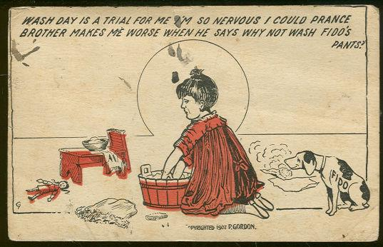 COMIC POSTCARD OF WASH DAY FOR FIDO'S PANTS, Postcard