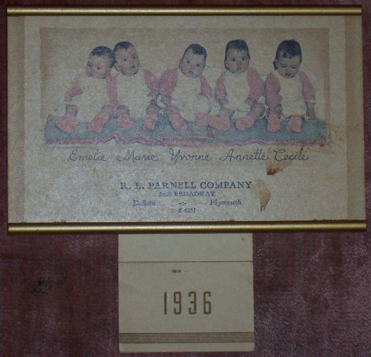 1936 DIONNE QUINTUPLETS CALENDAR FROM R. L. PARNELL CO, Dionne Quintuplets