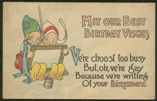 Image for TWO DUTCH KIDS WISHING YOU BIRTHDAY VISHES POSTCARD