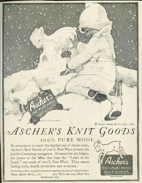 Image for ASCHER'S KNIT GOODS 1921 MAGAZINE ADVERTISEMENT