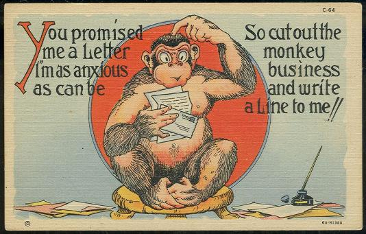 Image for TEICH COMIC POSTCARD OF A MONKEY WRITING A LETTER