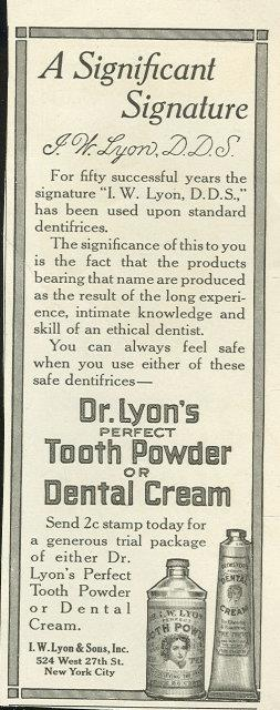 Image for 1916 LADIES HOME JOURNAL MAGAZINE ADVERTISMENT FOR DR. LYON'S TOOTH POWDER OR CREAM