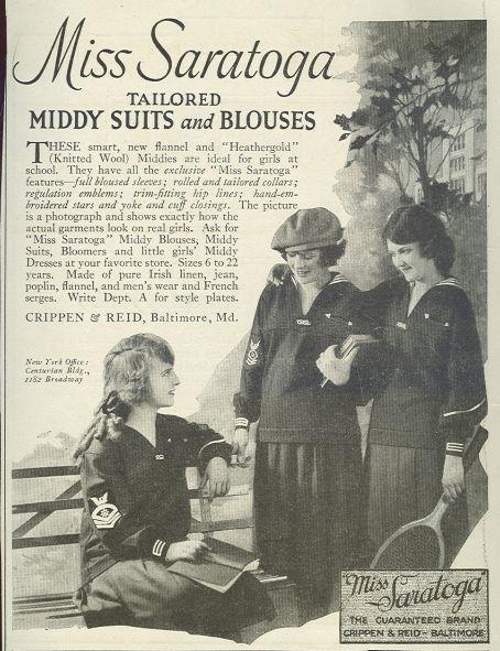 Image for 1921 LADIES HOME JOURNAL MISS SARATOGA MIDDY SUITS MAGAZINE ADVERTISEMENT