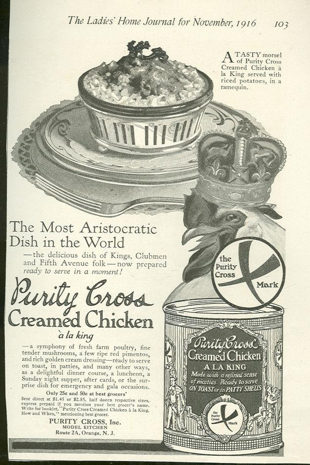 1916 LADIES HOME JOURNAL MAGAZINE ADVERTISMENT FOR PURITY CROSS CANNED CREAMED CHICKEN, Advertisement