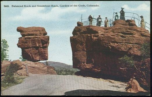 BALANCED ROCK AND STEAMBOAT ROCK, GARDEN OF THE GODS, COLORADO, Postcard