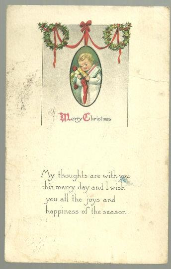 VICTORIAN MERRY CHRISTMAS POSTCARD WITH LITTLE BOY, Postcard