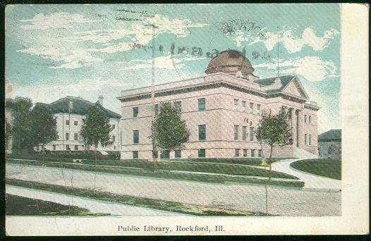 PUBLIC LIBRARY, ROCKFORD, ILLINOIS, Postcard