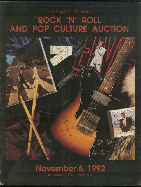 ROCK 'N' ROLL AND POP CULTURE AUCTION - NOVEMBER 6, 1992 In Beverly Hills, California, Superior Galleries